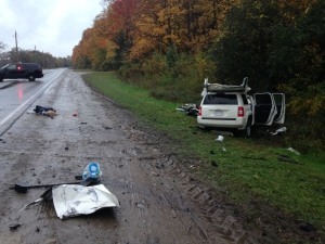 Both drivers were seriously hurt when an SUV and school bus collided on Blair Road in Cambridge on Thursday, Oct. 20, 2016. (Kevin Doerr / CTV Kitchener)
