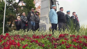 Veterans and supporters stand guard at the Guelph cenotaph to mark the second anniversary of the death of Cpl. Nathan Cirillo.