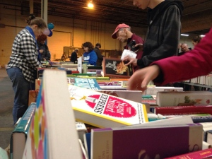 People browse through the offerings at the Giant Book Sale in Guelph on Saturday, Oct. 22, 2016. (Tyler Calver / CTV Kitchener)