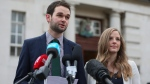 Daniel and Amy McArthur of Ashers Baking Company at Belfast High Court, Northern Ireland, on Oct. 24, 2016. (Niall Carson / PA via AP)