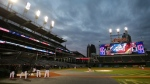 The Cleveland Indians' Progressive Field during a team practice for baseball's upcoming World Series against the Chicago Cubs, Sunday, Oct. 23, 2016, in Cleveland. (AP Photo/Aaron Josefczyk)