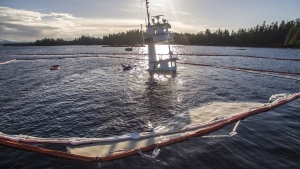 The submerged tugboat Nathan E. Stewart is shown in an Oct.23, 2016 handout photo. THE CANADIAN PRESS/HO-Heiltsuk Nation-Tavish Campbell & April Bencze