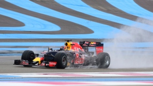 FILE - In this Jan. 26, 2016 file photo, Red Bull driver Daniil Kvyat of Russia steers his car during a testing session of Pirelli Formula One rain tires, at the Paul Ricard circuit, in Le Castellet, near Marseille. The French Grand Prix will return to the Formula One calendar in 2018 at the Paul Ricard circuit after a 10-year absence. (AP Photo/Claude Paris, File)