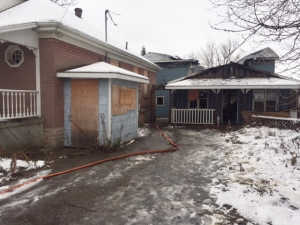 Firefighters were called to a burning shed at an abandoned property on Silvercreek Parkway in Guelph on Monday, Dec.5, 2016. (Victoria Levy / CTV Kitchener)