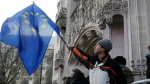 A man waves a European flag in front of the Supreme Court in London, Monday, Dec. 5, 2016. (AP Photo/Frank Augstein)
