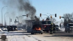 Richard Symchuk and his son William had just left Tim Hortons when the car caught fire. (Beth Macdonell/ CTV Winnipeg)