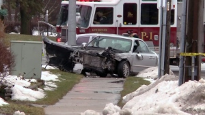 Three people were seriously injured in a collision on Belmont Avenue near Spadina Road in Kitchener on Wednesday, Jan. 18, 2017.