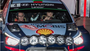 Hyundai Motorsports driver Hayden Paddon, right, and co-driver John Kennard from New Zealand start the 85th Rally of Monte Carlo in Monaco on Thursday, Jan. 19, 2017. (AP / Christian Alminana)