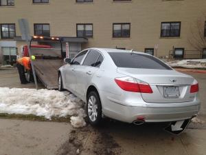 A silver car crashed through the front doors of Listowel Memorial Hospital on Friday, Jan. 20, 2017. (Dan Lauckner / CTV Kitchener)