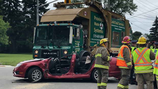 sawmill northfield waterloo collision garbage car