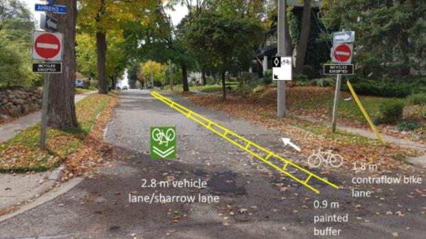 Young Street proposed contraflow bike lane