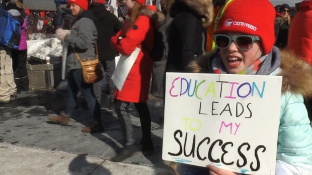 Kitchener City Hall swarmed for teachers' rally
