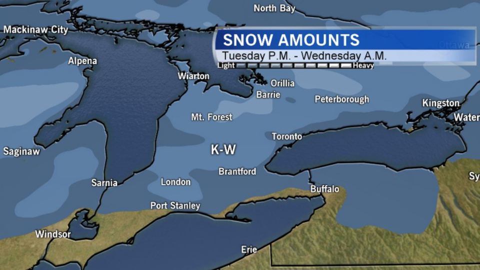 Snowfall amounts in southern Ontario