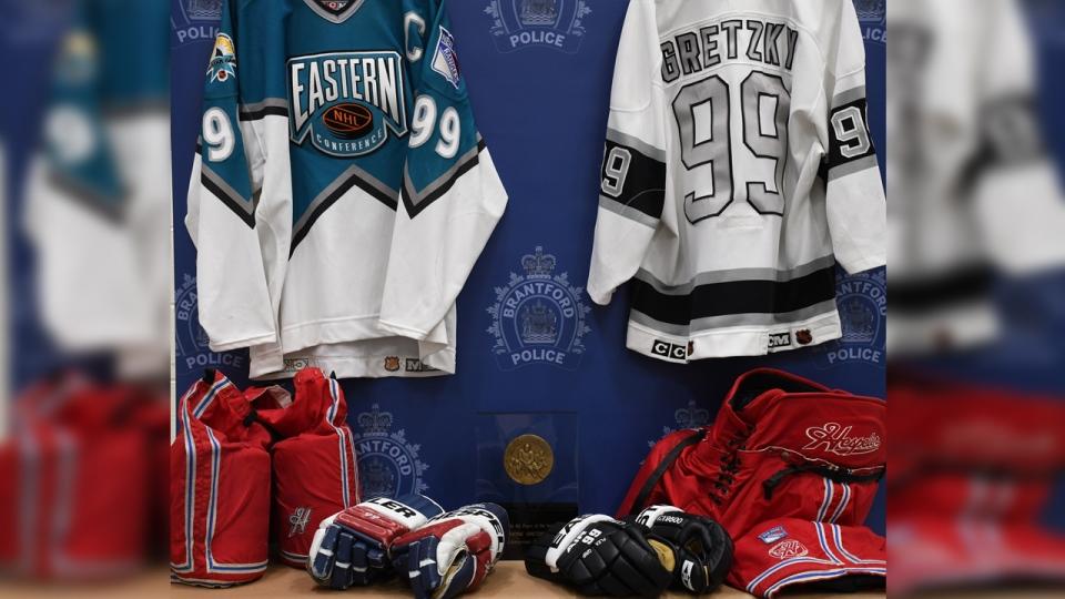 Wayne Gretzky jerseys, gloves, pants and an award