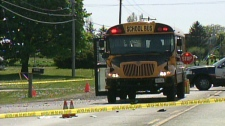 A young girl was taken to hospital after being struck by a garbage truck on Erbs Road, east of St. Agatha, Ont. on Thursday, May 17, 2012.