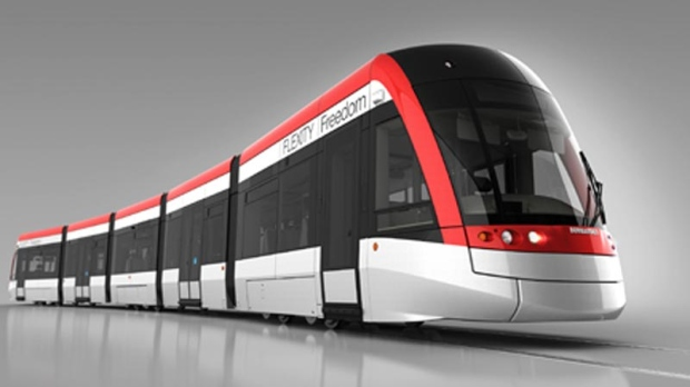A Bombardier light rail vehicle is seen in this image provided by the Region of Waterloo.