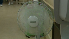 A fan is seen at Hilltop Manor Long Term Care Facility in Cambridge, Ont.