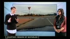 An image shows a scene in the new roundabout education video from the Region of Waterloo.
