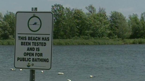 A sign is seen at Laurel Creek Conservation Area in Waterloo on Tuesday, July 17, 2012.