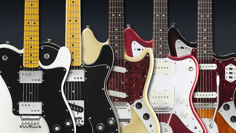 A number of Fender guitars are shown in this image courtesy of fender.com.