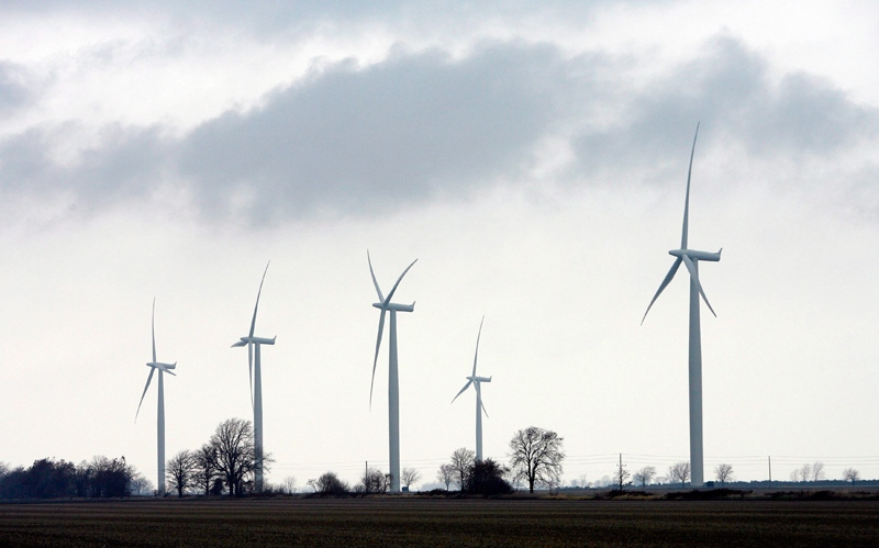Wind turbines are shown at the opening of a 44-turbine wind farm near Port Alma, Ont., on Thursday, November 13, 2008.