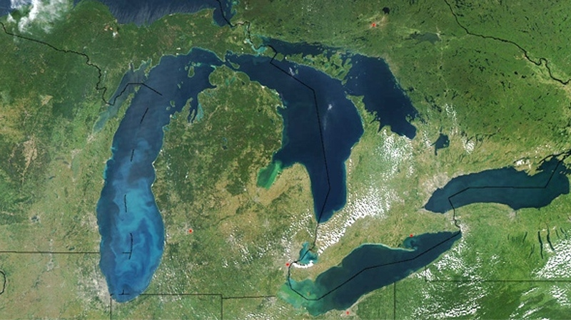 The Great Lakes dominate this true-colour satellite image made available by NASA.