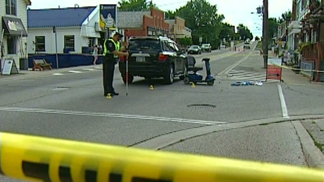 A vehicle and a mobility scooter collided in St. Jacobs, Ont. on Wednesday, Aug. 1, 2012.