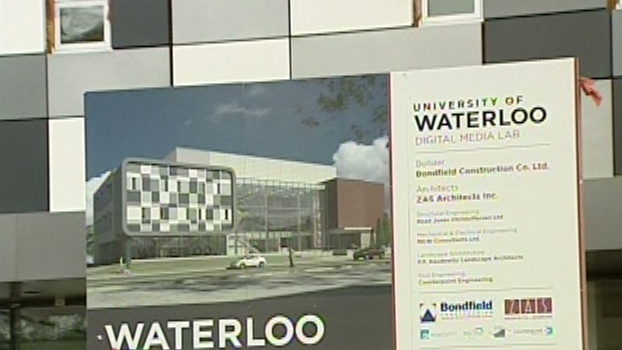 A sign describes the planned University of Waterloo campus in Stratford, Ont.