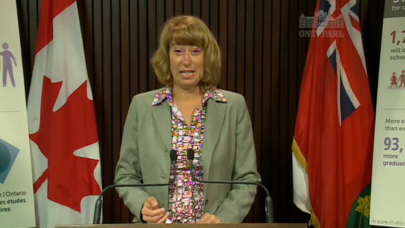 Ontario Education Minister Laurel Broten addresses a news conference in Toronto, Friday, Aug. 17, 2012.