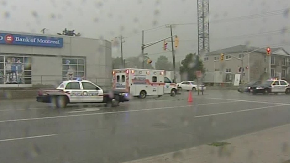 Police investigate after a pedestrian was struck and killed in Waterloo, Ont. on Tuesday, Sept. 4, 2012.