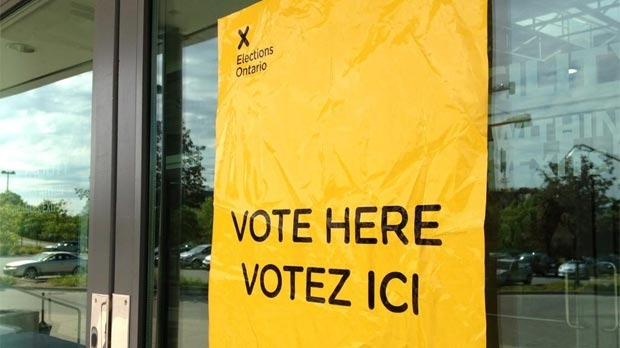A sign is seen outside a polling station in the Kitchener-Waterloo byelection on Thursday, Sept. 6, 2012.
