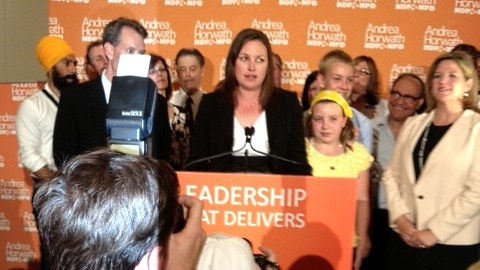 NDP candidate Catherine Fife speaks after winning the Kitchener-Waterloo byelection as NDP Leader Andrewa Horwath, right, looks on, Thursday, Sept. 6, 2012.
