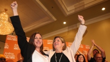 NDP candidate Catherine Fife and leader Andrea Horvath