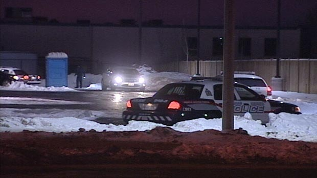 The area where a series of armed robberies occurred within 15 minutes is seen in Waterloo, Ont. on Dec. 27, 2010.