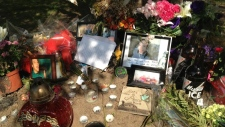 Memorial set up for Adam Jones on th site he was killed