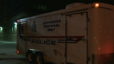 Explosives Disposal Unit investigates a suspicious package on the University of Guelph campus.